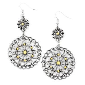 Floral Silver Yellow & Gray Beaded Dangle Earrings